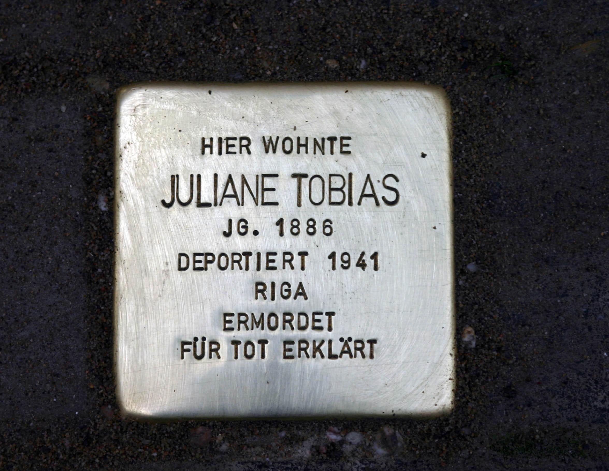 Stolperstein für Juliane Tobias in Mülheim