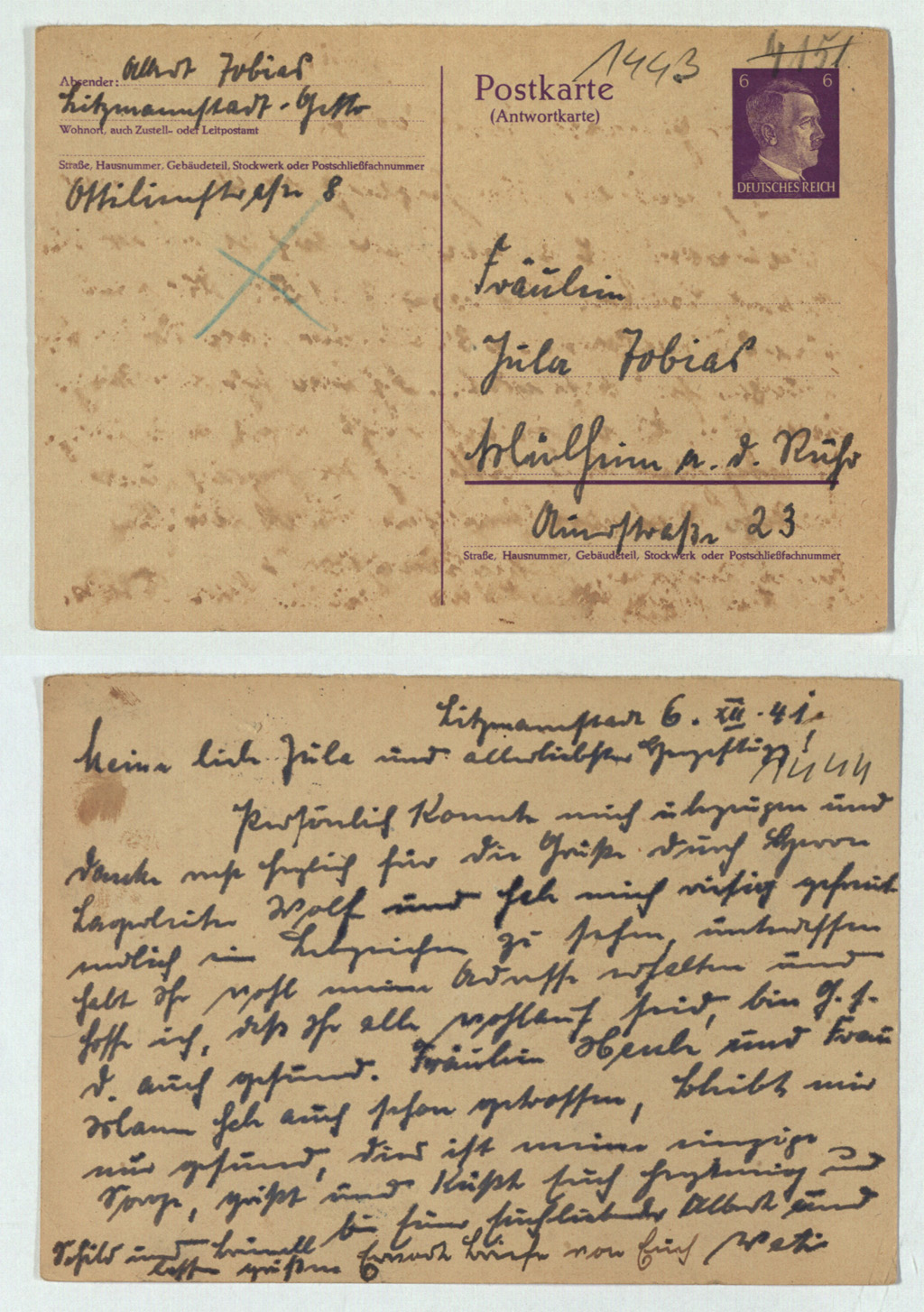 Postkarte an Julie