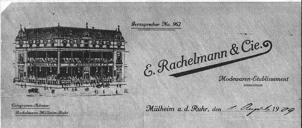 Briefkopf der Firma Rachelmann von 1909