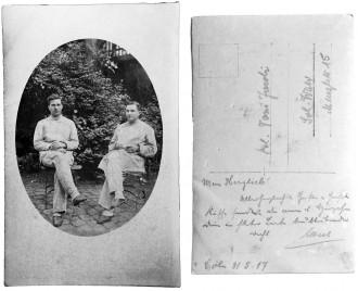 Postkarte von Albert (rechts) an Toni, 1917
