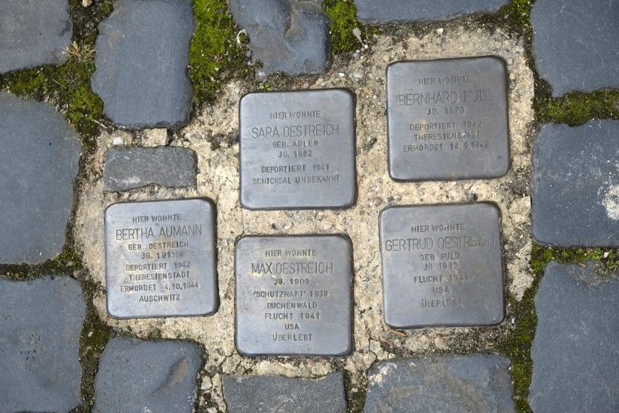 Stolpersteine for the Oestreich family in Langstadt infront of their house.