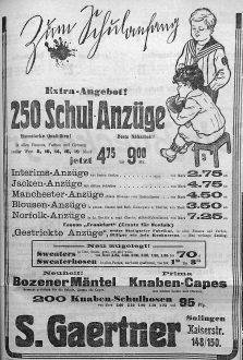 Am 1. April 1910 inseriert Simon Gaertner im Solinger Kreis-Intelligenzblatt passende Ware zum Schulanfang.