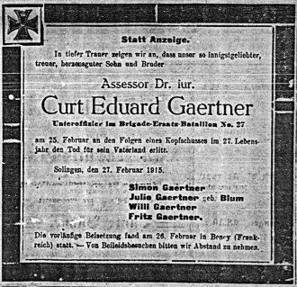Traueranzeige der Familie für Curt Gaertner im Solinger Tageblatt vom 27. Februar 1915.