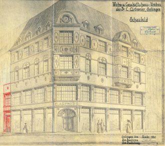 Diese imposante Ansichtszeichnung findet sich in der Hausakte zum Umbau durch C. Artmeier im November 1920. (StAS HA 1173)