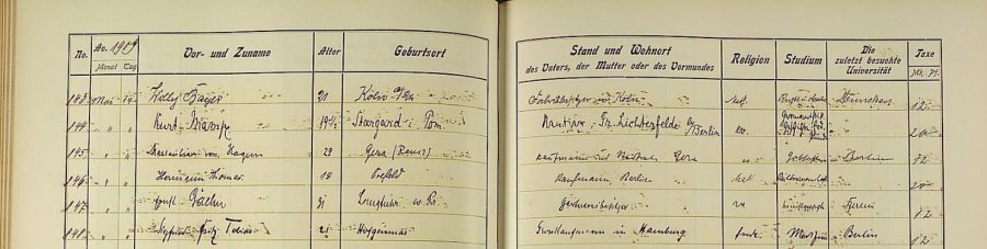 The register entry for Siegfried Fritz Tobias at the University of Heidelberg says his father is a merchant in Hamburg. Source: http://digi.ub.uni-heidelberg.de/diglit/matrikel1907/0179