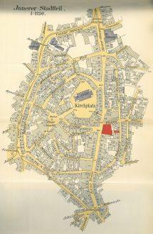 Dieser Stadtplan liegt der Hausakte zur Kaiserstraße 148-152 bei und zeigt die Simon Gaertner gehörenden Liegenschaften (rot). Als Mieter war er zwischen 1891 und 1907 an der Kaiserstraße 159, 157, 200 und 120 ansässig. (Stadtarchiv Solingen HA 1173)