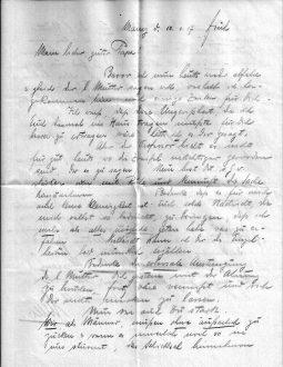 Am 10. Juni 1917 schreibt Willi Gaertner an seinen schwer kranken Vater einen Brief. Er weiß zu dem Zeitpunkt noch nicht, dass sein Bruder Fritz tatsächlich schon tot ist, obwohl er es befürchten muss. (Nachlass von Elsbeth Lewin)